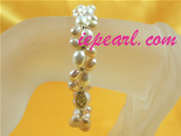 pink 5-6mm and 7-8mm cultured pearl bracelet wholesale