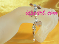 6-7mm potato pearl bracelet with crystal beads wholesale