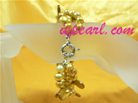 three strands twisted yellow freshwater pearl bracelet wholesale