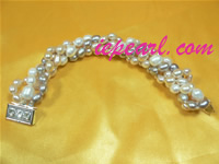 7-8mm multicolor twisted freshwater pearl bracelet wholesale