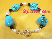 wholesale white 7-8mm freshwater pearl bracelet with turquoise