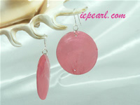 red 40mm round shell sheet sterling siver dangling earrings