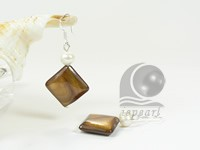 pretty 15x15mm square tiger eye sterling siver dangling earrings