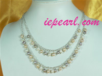 Multicolor tin cup multi-color rice pearl necklace wholesale