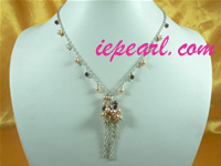 4-5mm pink tin cup pearl necklace with crystal beads wholesale