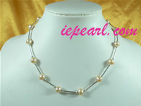 pink tin cup pearl necklace with sterling silver pipes wholesale