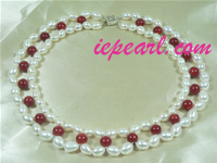7-8mm rice shape cultured pearl necklace with red coral online