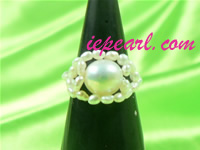 7.5-8mm white stretchy pearl ring wholesale