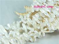 ivory white 7x20mm center drilled Biwa freshwater pearl strand