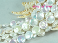 ivory white 12mm center drilled coin freshwater pearl strand