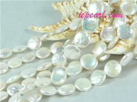 natural white 10mm center drilled coin freshwater pearl strand