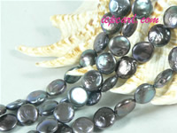 black 10mm center drilled coin freshwater pearl strand