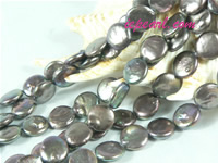 chocolate 10mm center drilled coin freshwater pearl strand