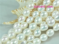 ivory white 9-10mm rice freshwater pearl strand