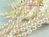 pink 6-7mm rice freshwater pearl strand