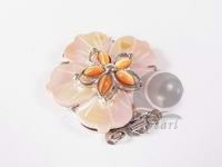 wholesale 3 rows white flower shell clasp with orange opal