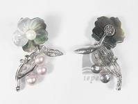 wholesale 2*4.5cm nice black and white flower shell brooch