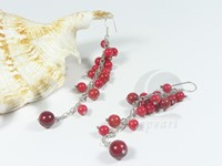 red coral grape shape dangling earrings wholesale online