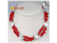 Wholesale two rows red branch coral necklace with coin pearl