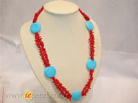 Wholesale red branch coral necklace with turquoise beads
