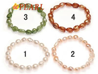 Wholesale length drilled nugget pearl elastic bracelet