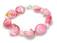 Wholesale pink shell bracelet with 5mm white freshwater pearl