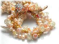 Wholesale champagne smooth-on-both-side pearls bracelet
