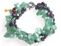 Three rows twisted freshwater pearl bracelet wholesale