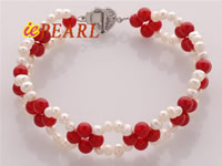 red coral & freshwater potato pearl bracelet wholesale