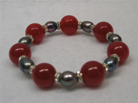 Wholesale 14mm red jades bracelet with 9*11mm rice pearls