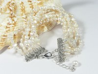 Wholesale five rows 4-5mm double shiny white pearl bracelet