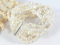 Wholesale 8-row white freshwater pearl bracelets