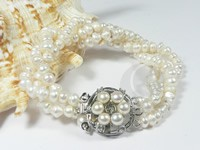 6-7mm three rows twisted potato pearl bracelet wholesale