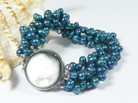 6-7mm three rows twisted blue top-drilled pearl bracelet