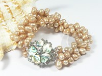 6-7mm three rows twisted champagne side drilled pearl bracelet