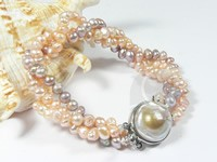 three rows twisted 4-5mm potato bead bracelet wholesale