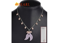 Wholesale silver chain white pearl & Chinese crystal necklace