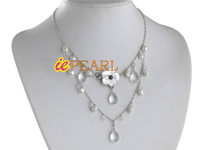 Natural white Keshi pearls drop necklace wholesale online