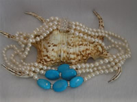 6-7mm white freshwater pearl necklace with turquoise wholesale