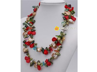 2 strands necklace made of blister pearl, coral bead, coin pearl