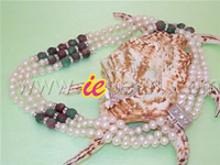 Three strands pearl necklace with 8mm pavonine jades wholesale