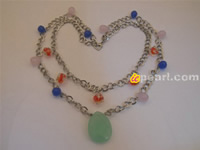 2 strands copper chains necklace with multicolor Chinese crystal