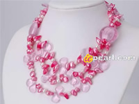 Hot pink blister pearl necklace with moonlight clasp wholesale
