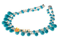 Wholesale 10*20mm tear drop turquoise & 5-6mm pearl necklace