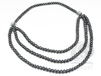 Wholesale 6-7mm black potato pearl multi-strand necklace
