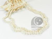 clearance sale white cultured button pearl rope necklace