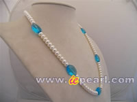 White button freshwater pearl rope necklace in wholesale