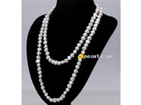 10-11mm white nugget pearl rope long necklace wholesale