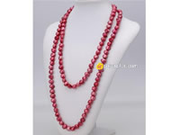 10-11mm wine red nugget pearl long necklace wholesale