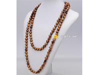 10-11mm summer tan nugget pearl rope long necklace